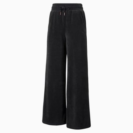 Pantalones de corte ancho HER Velour para mujer, Cotton Black, pequeño