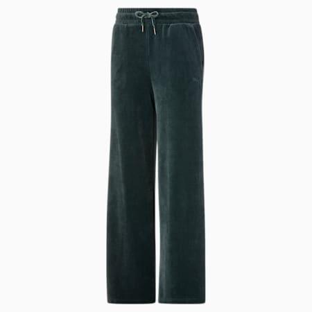 Pantalones de corte ancho HER Velour para mujer, Green Gables, pequeño