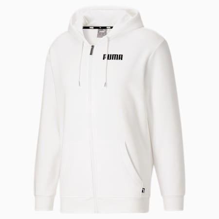 Sudadera con capucha PUMA POWER FZ para hombre, Puma White, pequeño