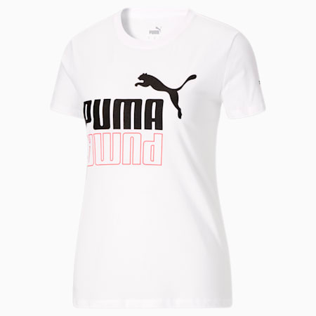 T-shirt ample PUMA POWER, femme, blanc PUMA-noir PUMA, petit
