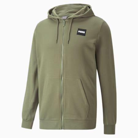 Full-Zip Men's Hoodie, Deep Lichen Green, small