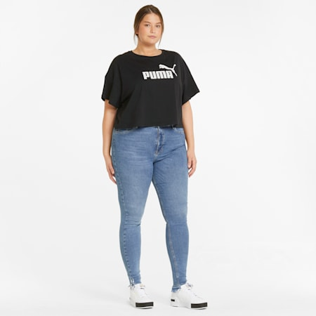 Essentials PLUS Cropped Logo Damen T-Shirt, Puma Black, small