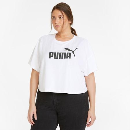 Essentials PLUS Cropped Logo Women's Tee, Puma White, small