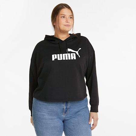 Essentials PLUS Cropped Full-Length Women's Hoodie, Puma Black, small