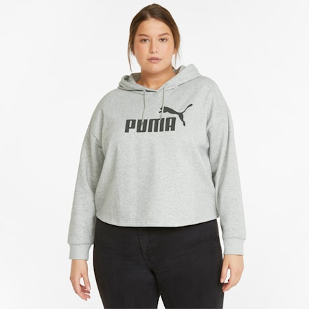 Essentials PLUS Cropped Full-Length Women's Hoodie, Light Gray Heather, small