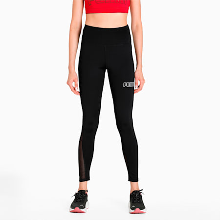 Active Essential Polyester Tight Fit Women's Leggings, Puma Black, small-IND