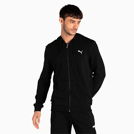 Essential Full-Zip Regular Fit Men's Hoodie, Puma Black, small-IND