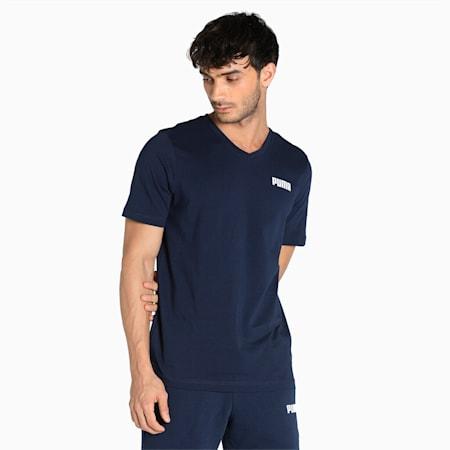 Essentials V-Neck Regular Fit Men's  T-shirt, Peacoat, small-IND