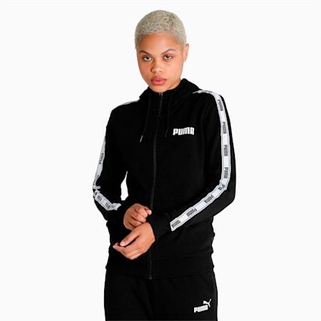 Tape Full-Zip Regular Fit Women's Hoodie, Puma Black, small-IND