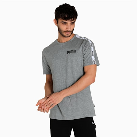 PUMA Tape Regular Fit Men's T-Shirt, Medium Gray Heather, small-IND
