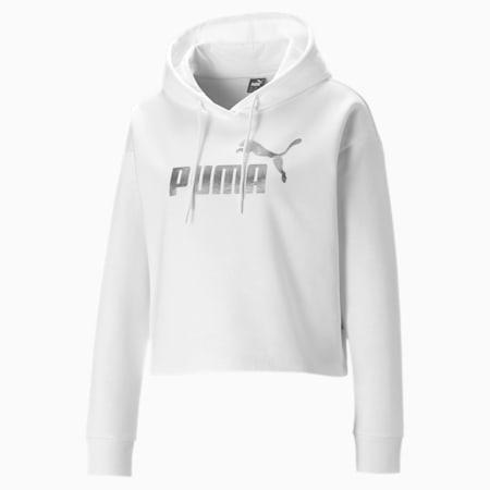 Foil Logo Cropped Fleece Women's Hoodie, Puma White-Silver, small