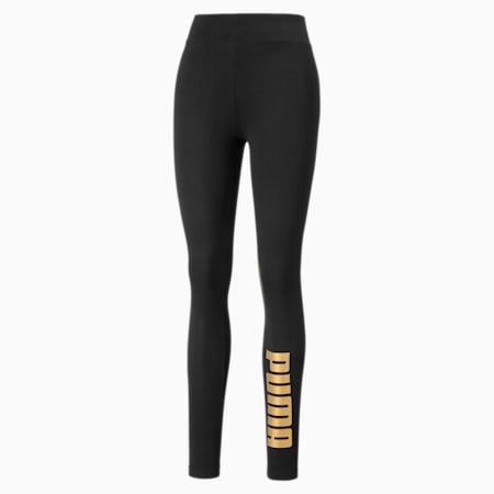 Metallic Branded Damen Leggings, Puma Black-Gold, small