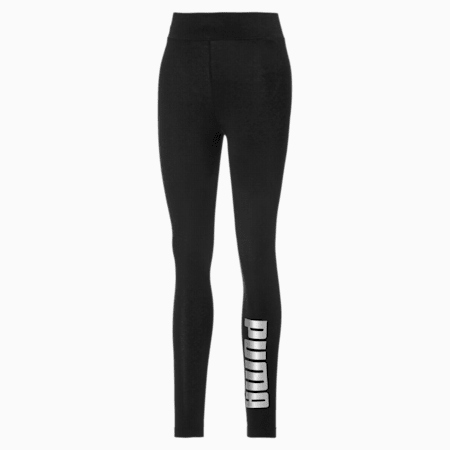 Metallic Branded Damen Leggings, Puma Black-Silver, small