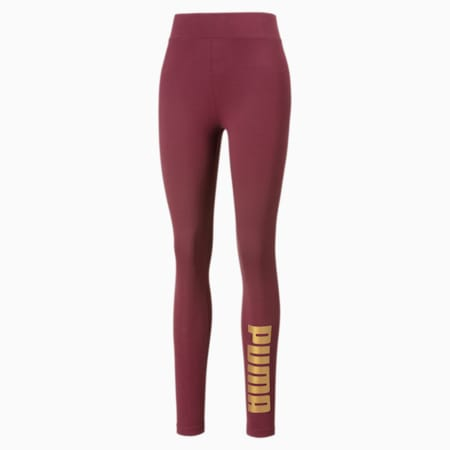 Collant Metallic Branded pour femme, Burgundy-Gold, small