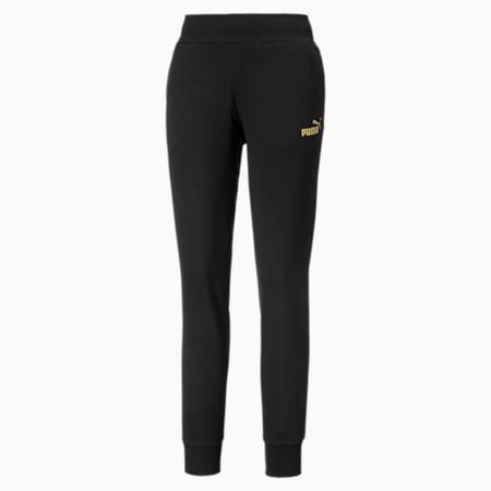Pantaloni in tessuto felpato con logo metallizzato donna, Puma Black-Gold, small