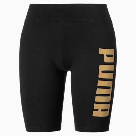 Pantaloni aderenti corti con logo metallizzato donna, Puma Black-Gold, small