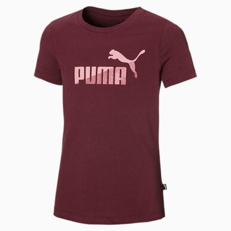 Dziewczęca koszulka No. 1 Logo Glitter, Burgundy, small