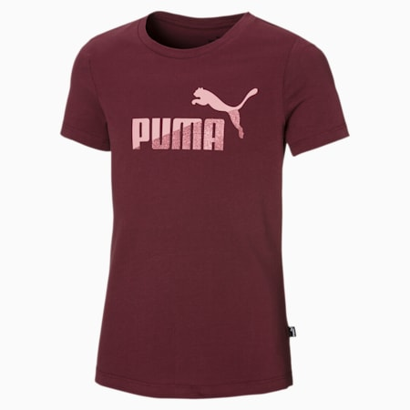 T-Shirt No. 1 Logo Glitter pour fille, Burgundy, small