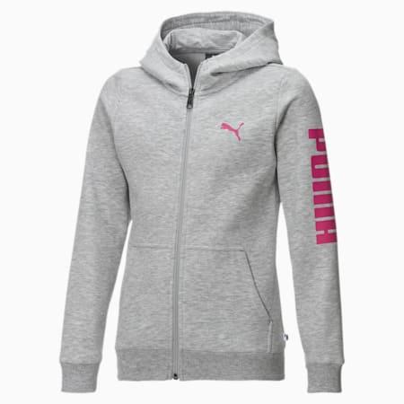 Blouson en sweat Fleece à capuche pour fille, Light Gray Heather-Pink, small