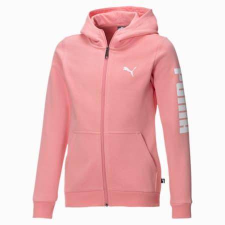 Fleece hoodie met volledige rits voor meisjes, Salmon Rose-Puma White, small