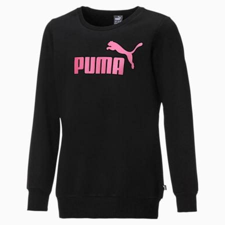 Sweat à encolure ronde Fleece pour fille, Puma Black-Pink, small