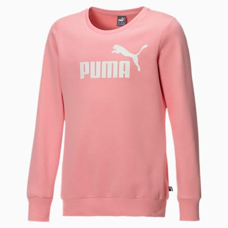 Crew Neck Fleece Girls' Sweater, Salmon Rose-Puma White, small