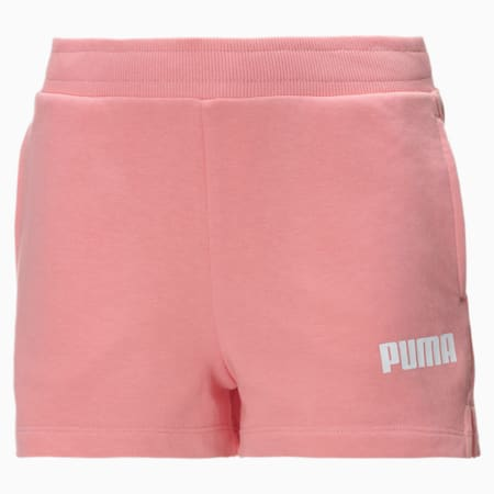 Terry Girls' Sweat Shorts, Salmon Rose-Puma White, small