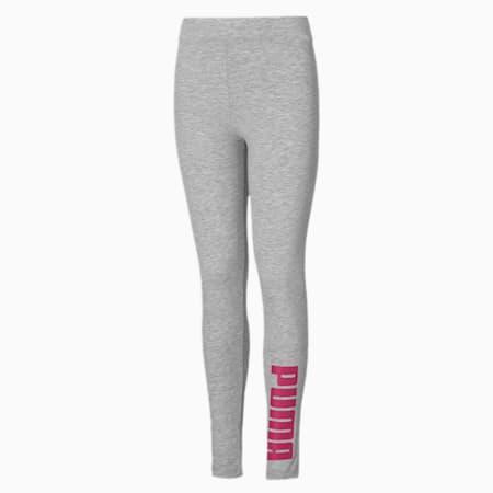 Dziewczęce legginsy, Light Gray Heather-Pink, small