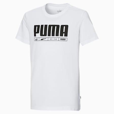 T-shirt logata bambino, Puma White, small