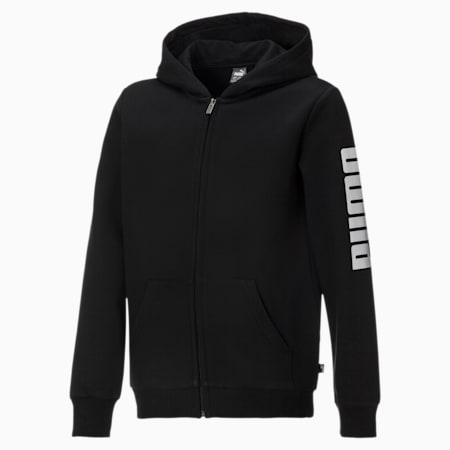 Fleece hoodie met volledige rits voor jongens, Puma Black-Puma White, small