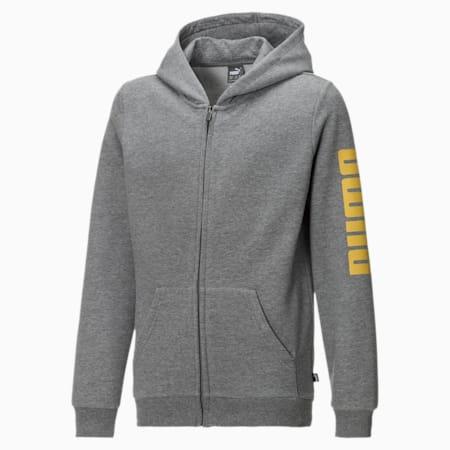 Blouson en sweat Fleece à capuche pour garçon, Medium Gray Heather-Yellow, small