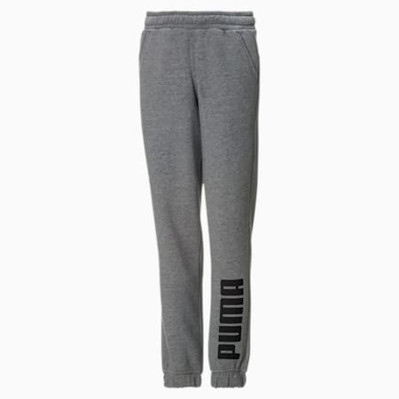 Fleece Boys' Jogger Sweatpants, Medium Gray Heather-Black, small
