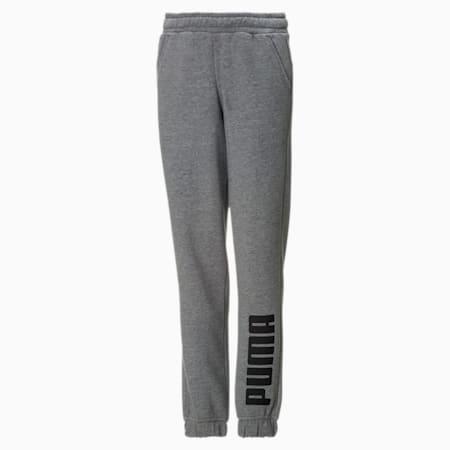 Fleece joggingbroek sweatpants voor jongens, Medium Gray Heather-Black, small