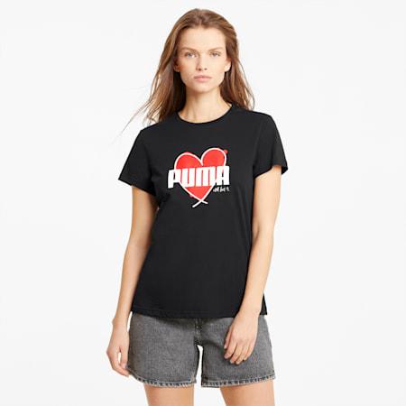 Heart Women's T-Shirt, Puma Black, small-IND
