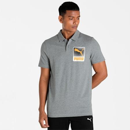 PUMA Graphic Men's Polo, Medium Gray Heather, small-IND