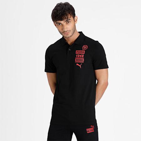 PUMA Graphic Men's Polo, Puma Black, small-IND