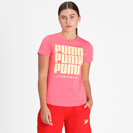 PUMA Graphic Women's T-Shirt, Sun Kissed Coral, small-IND