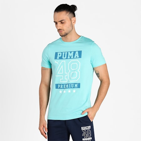 PUMA Graphic Men's T-Shirt, Angel Blue-angel  blue, small-IND