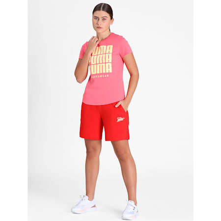 PUMA Graphic Women's Shorts, High Risk Red, small-IND