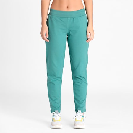 PUMA Graphic Women's Pants, Blue Spruce, small-IND