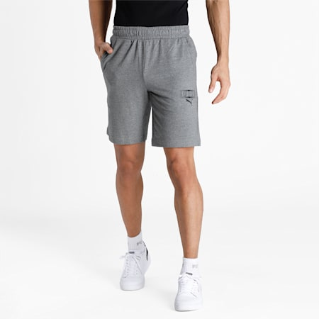 PUMA Graphic Men's Knitted Shorts, Medium Gray Heather, small-IND