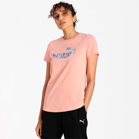 PUMA No. 1 Leopard Logo Women's T-Shirt, Apricot Blush, small-IND