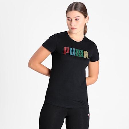 PUMA Logo Multicolour Women's T-Shirt, Puma Black, small-IND