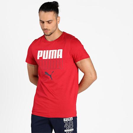PUMA Double Logo Men's T-Shirt, American Beauty, small-IND