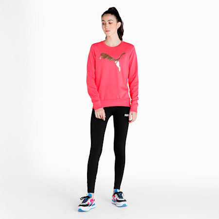 PUMA Logo Crew Women's T-Shirt, Paradise Pink, small-IND