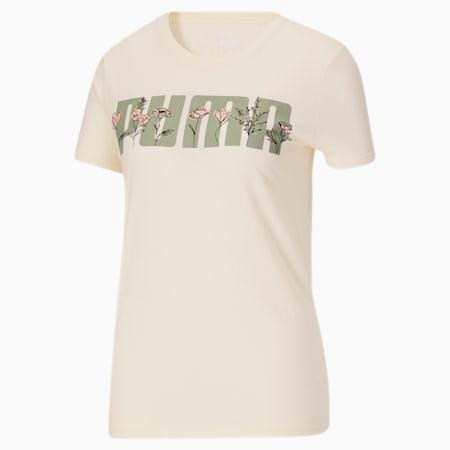 Camiseta con flores Puma Bloom para mujer, Eggnog, pequeño