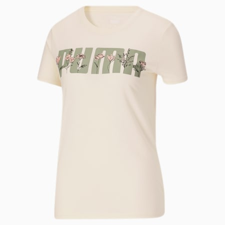 T-shirt à motif floralPuma Bloom, femme, Lait de poule, petit