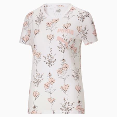 Camiseta con flores In BloomAOP para mujer, Puma White-AOP, pequeño