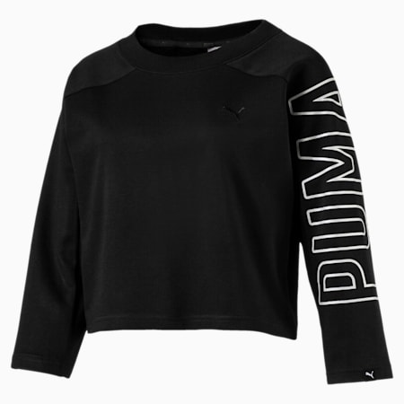 Women's Fusion Cropped 7/8 Sweater, Cotton Black, small-IND