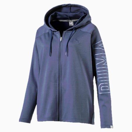 Women's Fusion Full Zip Hoddie, Blue Indigo, small